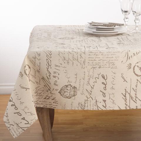 Vintage Script Print Linen Blend Tablecloth