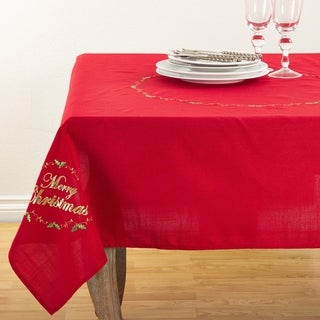 Merry Christmas Embroidered Design Holiday Table Topper Tablecloth