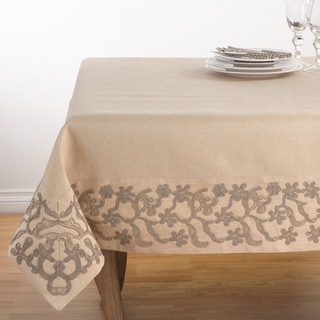 Floral Embroidered Border Trim Design Tablecloth