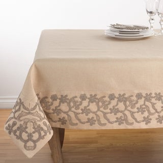 Floral Embroidered Border Trim Design Tablecloth