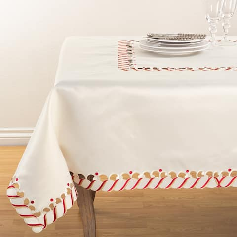 Candy Cane Border Trim Design Christmas Tablecloth