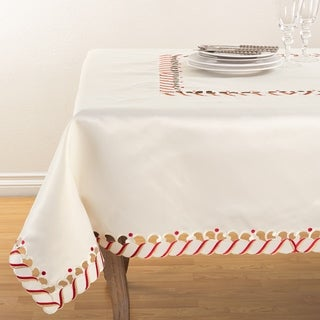 Link to Candy Cane Border Trim Design Christmas Tablecloth Similar Items in Table Linens & Decor