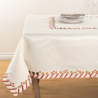 Candy Cane Border Trim Design Christmas Table Topper Tablecloth