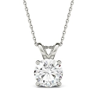 Charles & Colvard 14k Gold 1 9/10ct DEW Round Forever One Colorless Moissanite Solitaire Pendant