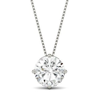 Charles & Colvard 14k White Gold 3ct DEW Round Forever One Colorless Moissanite Solitaire Pendant