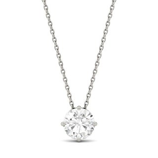 Charles Colvard 14k White Gold 1ct DEW Round Forever One Colorless Moissanite Solitaire Pendant