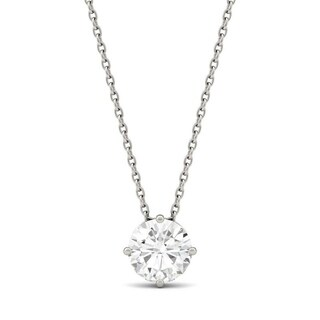 Charles & Colvard 14k White Gold 1ct DEF Round Forever One Colorless Moissanite Solitaire Pendant