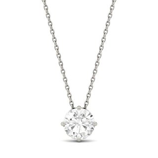 Charles & Colvard 14k White Gold 1ct DEW Round Forever One Colorless Moissanite Solitaire Pendant