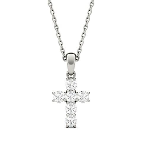 Charles & Colvard 14k Gold 1/3ct DEW Forever One Colorless Moissanite Cross Pendant