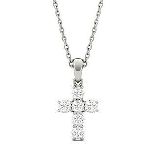 Charles & Colvard 14k Gold 1/3ct DEW Forever One Colorless Moissanite Cross Pendant
