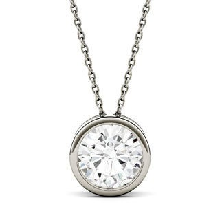Charles & Colvard 14k Gold 1 9/10ct DEW Round Forever One Colorless Moissanite Solitaire Bezel Pendant