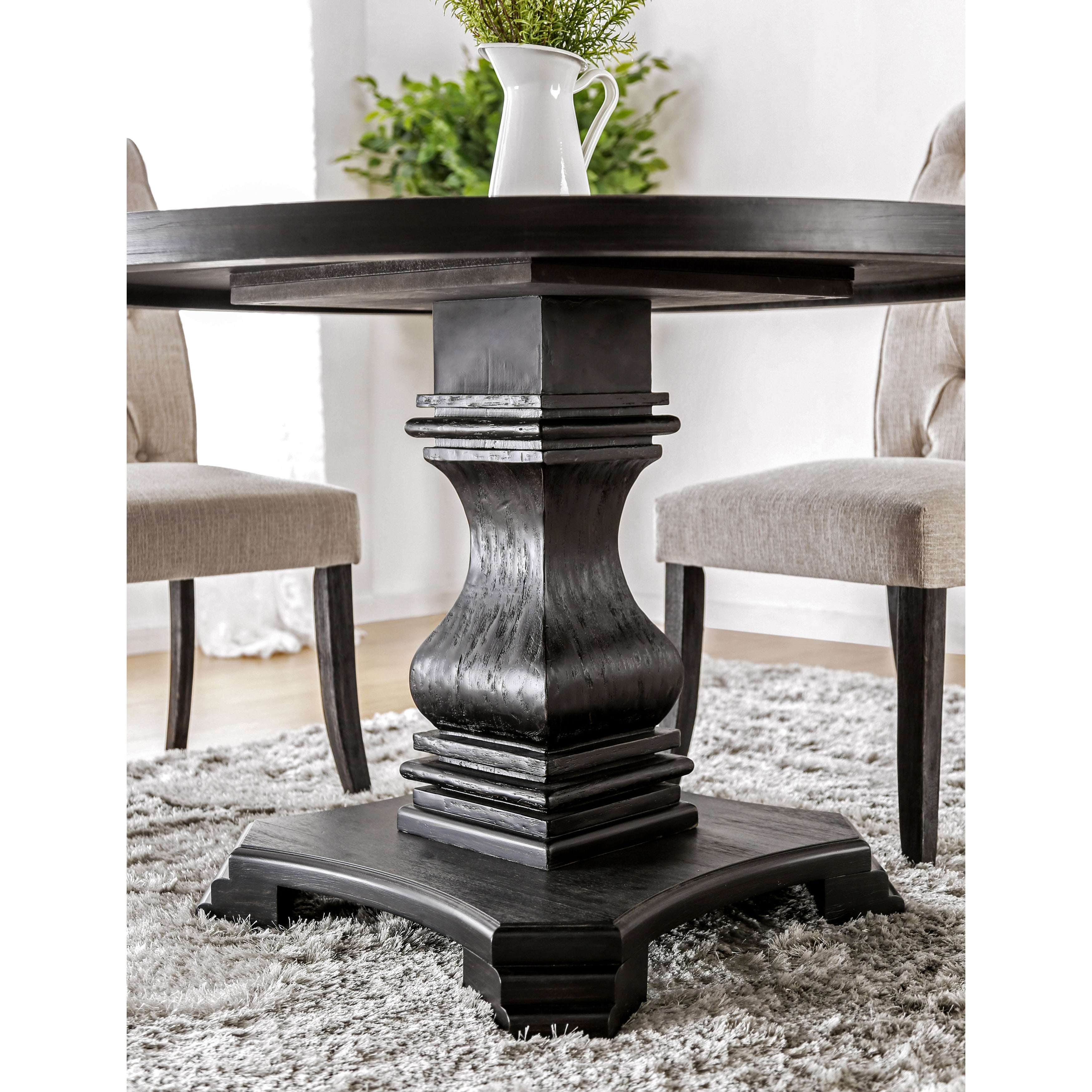 Copper Grove Plachkov Round Black Wood Pedestal Dining Table