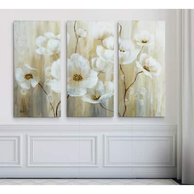 'Shimmering Blossoms' 3-panel Canvas Art