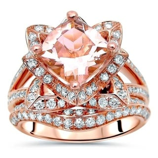 14k Rose Gold 2 5/6 ct TGW Cushion Cut Morganite Lotus Flower Diamond Engagement Ring Bridal Set - Pink