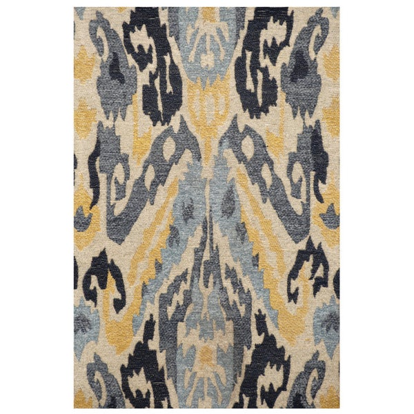 Handmade Chenille Flatweave Ikat Rug (India) - 2' x 3'