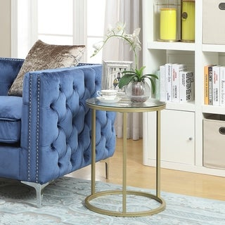 Britta 18 inch Round Glass Top Gold Accent Table