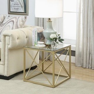 Dylan Goldtone Cube Accent Table