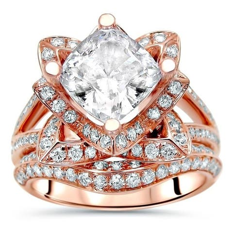 2ct Cushion Cut Moissanite Center 9/10 ct Diamond Engagement Ring Bridal Set Lotus Flower 14k Rose Gold - White