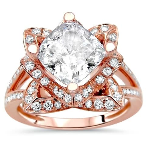 2 ct Cushion Cut Moissanite Center 3/5ct Diamond Surrounding Engagement Ring Lotus Flower 14k Rose Gold - White
