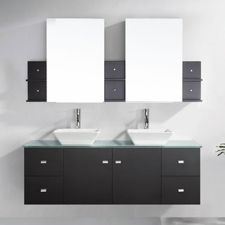 Virtu USA Clarissa 61-inch Double Bathroom Vanity Set with Faucets and Top Option