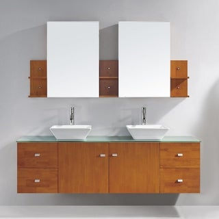 Virtu USA Clarissa 72-inch Double Bathroom Vanity Set with Faucets and Top Options