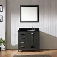 Caroline Premium 36-in Black Granite Single Bathroom Vanity Set with Offset Sink Option