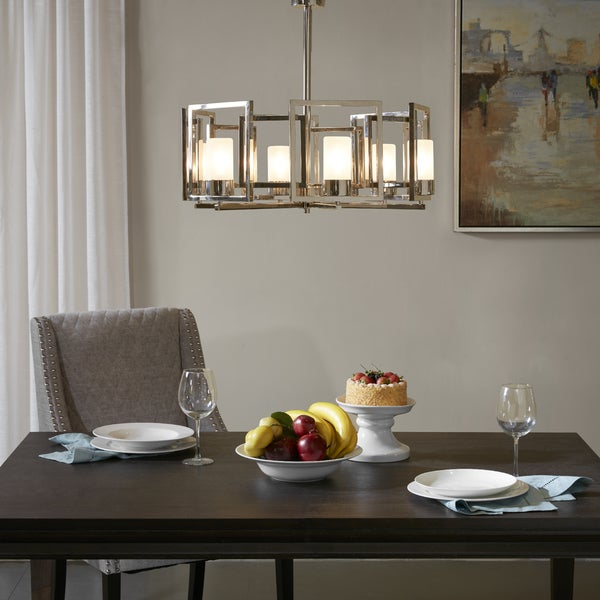 Madison Park Signature Bodie Silvertone Metal 6-light Chandelier with White Glass Shades