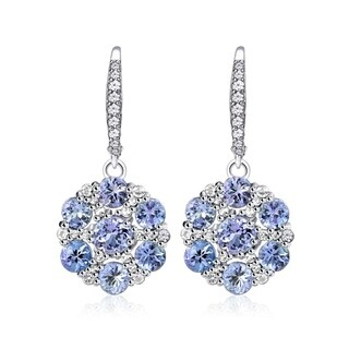 Glitzy Rocks Sterling Silver Tanzanite and White Topaz Flower Dangle Leverback Earrings