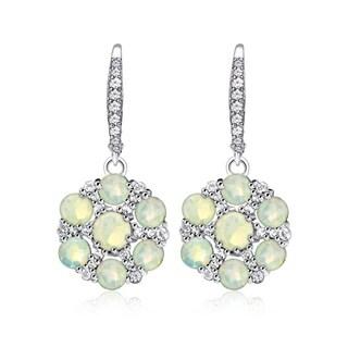 Glitzy Rocks Sterling Silver Ethiopian Opal and White Topaz Flower Dangle Leverback Earrings