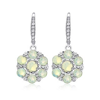 Glitzy Rocks Sterling Silver Ethiopian Opal and White Topaz Flower Dangle Leverback Earrings