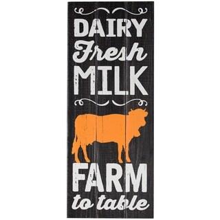 """""""Dairy Fresh Milk"""" Rustic Farmhouse Wood Wall Art"""