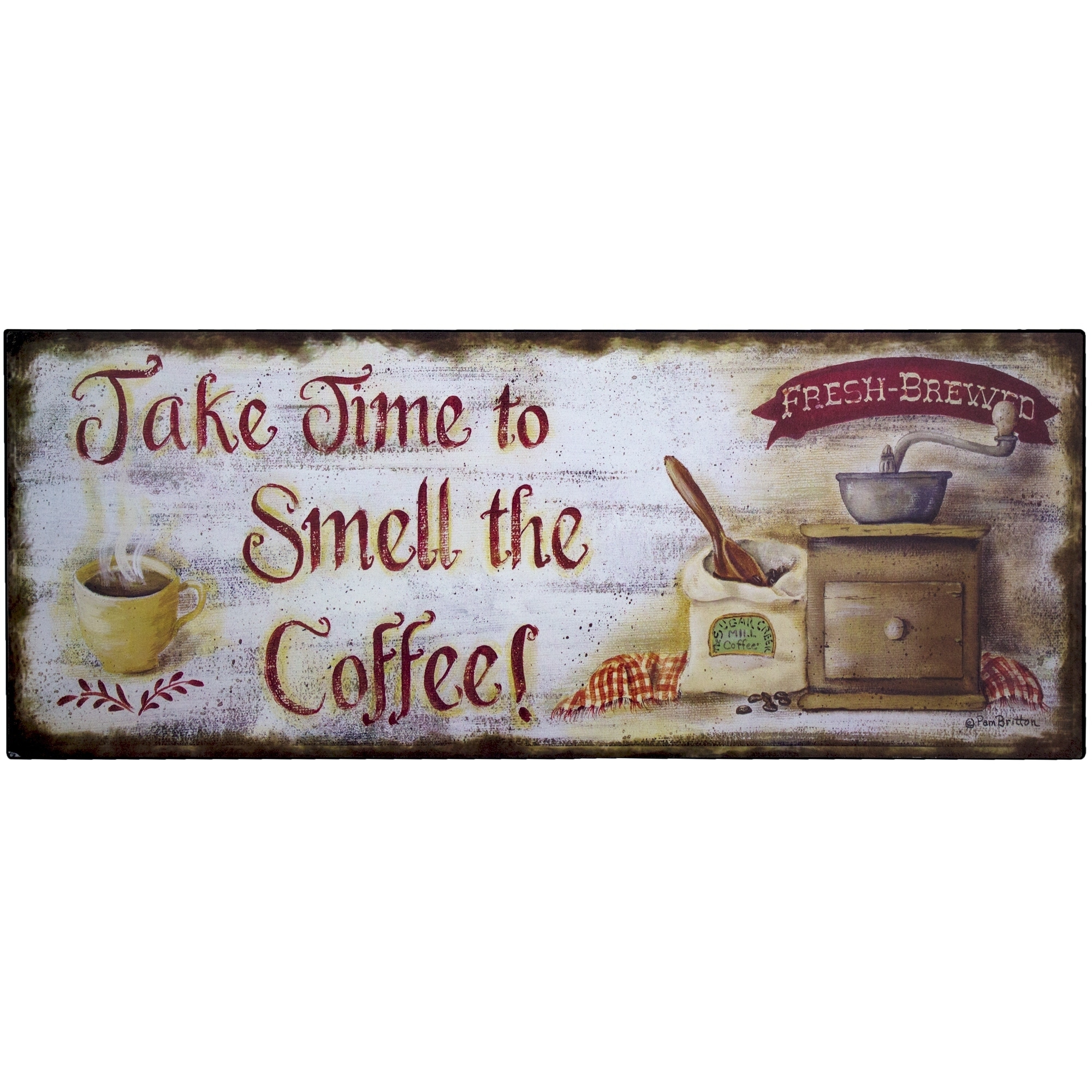 Coffee Rustic Metal (Grey) Sign Wall Décor for Kitchen