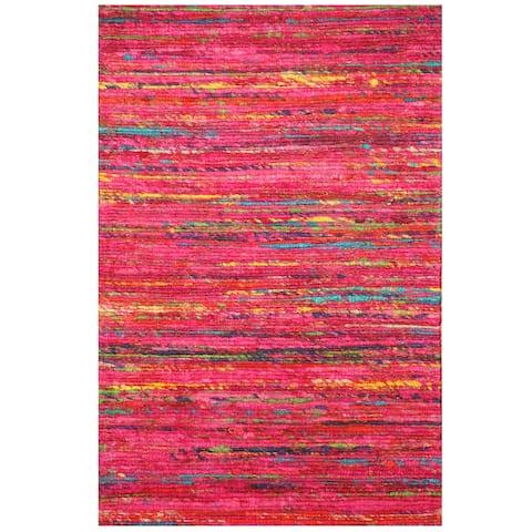 Handmade Chenille Flatweave Rug (India) - 1'6 x 2'