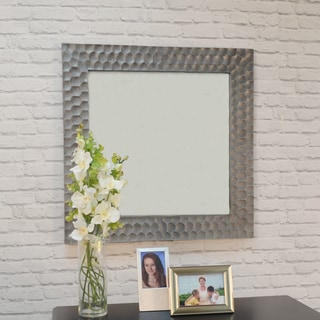 Clara 30 inch Square Hammered Frame Antique Pewter Mirror