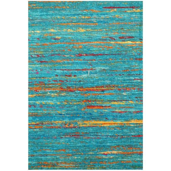 "Handmade Chenille Flatweave Rug (India) - 1'6"" x 2'"