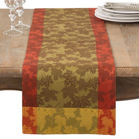 Fall Maple Leaf Damask Cotton Table Runner