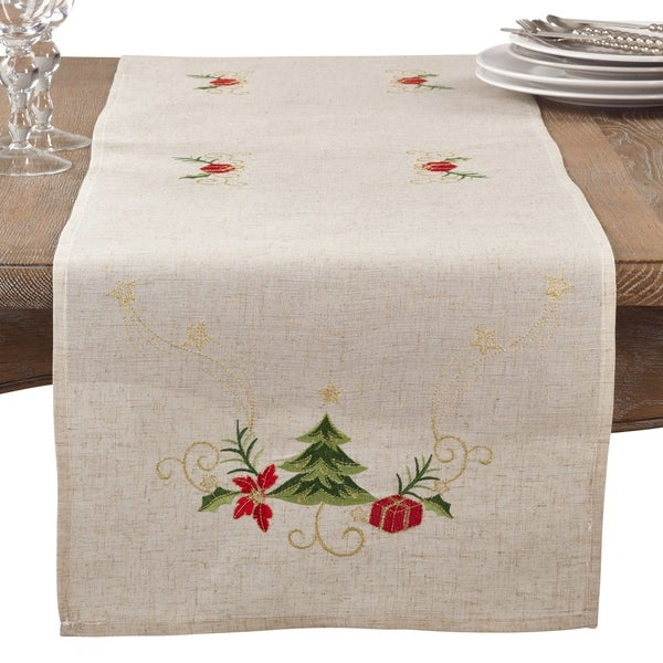 Shop Embroidered Christmas Tree Table Runner Free Shipping On