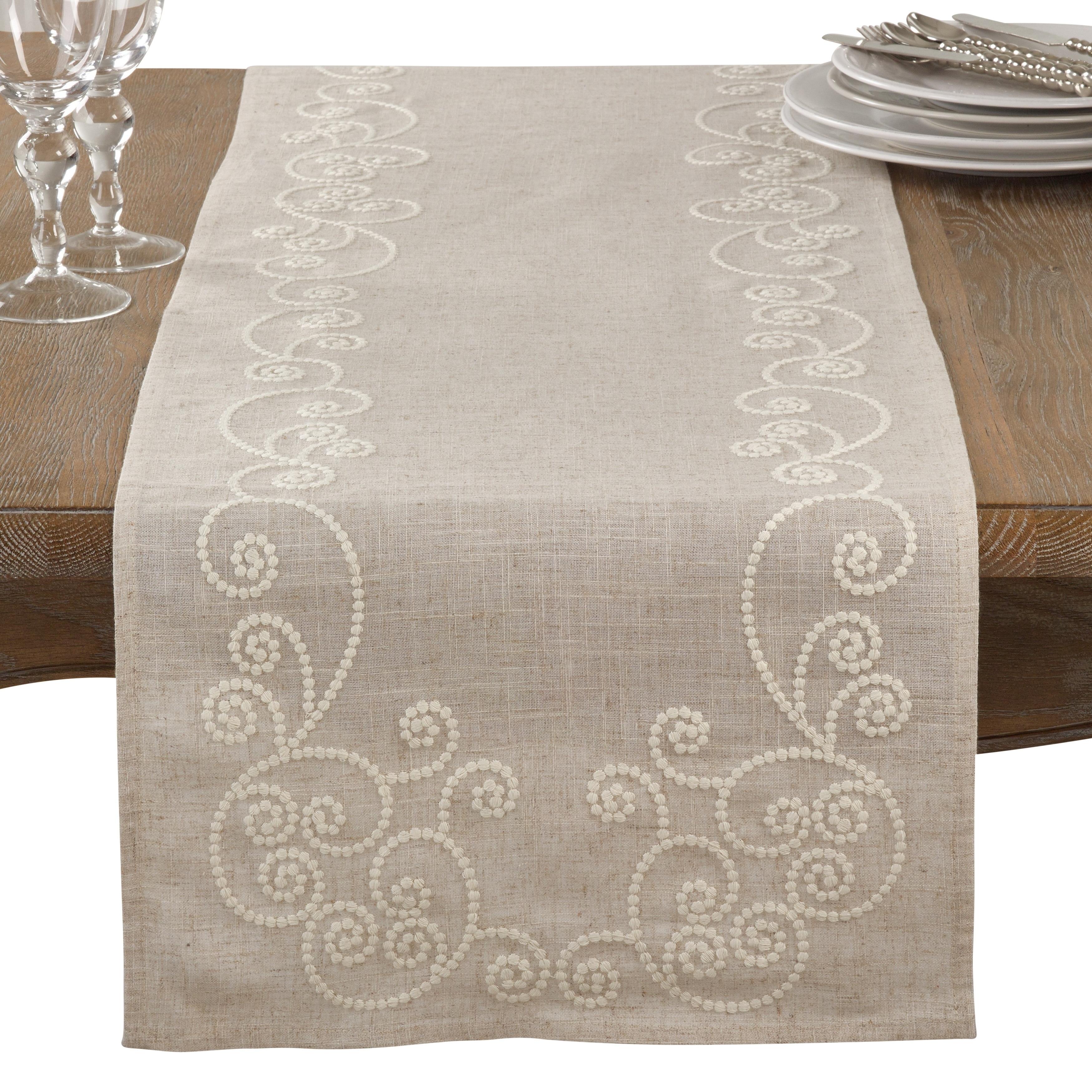 Embroidered Swirl Design Natural Linen Blend Table Runner Overstock 17522502
