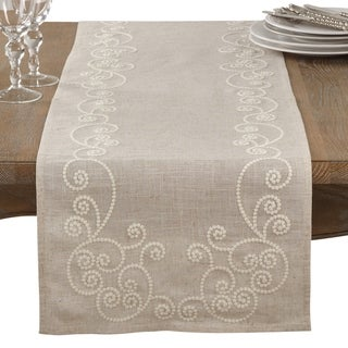 Link to Embroidered Swirl Design Natural Linen Blend Table Runner Similar Items in Table Linens & Decor