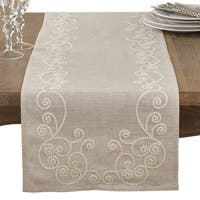 Embroidered Swirl Design Natural Linen Blend Table Runner