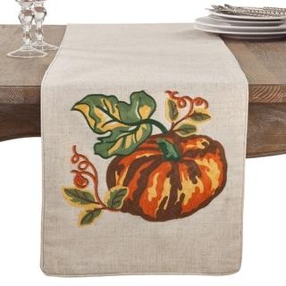 Embroidered Pumpkin Thanksgiving Table Runner