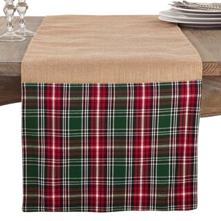 Edinburgh Plaid And Jute Festive Table Runner