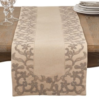 Embroidered Floral Border Table Runner