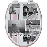 Evideco Toilet Seat Wood Design Seaside Beach