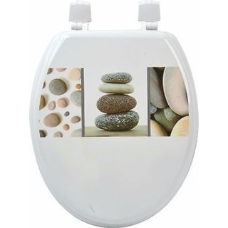 Evideco Toilet Seat Wood Design Belle Ile Pebbles