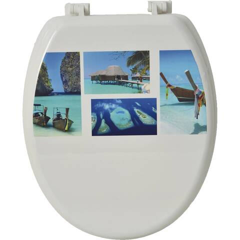 Evideco Toilet Seat Wood Design Paradise Sea - 14.75L x 2 W x 17.5 H