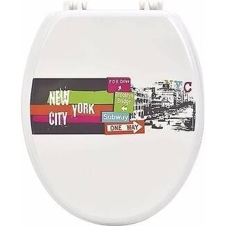 Evideco Toilet Seat Wood Design Urban Nyc Wood - 14.75L x 2 W x 17.5 H