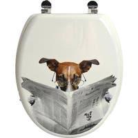 Evideco Toilet Seat Wood DesignDog Karamel Zinc Hinges