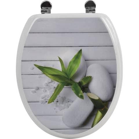 Evideco Toilet Seat Wood Design So Zen with Zinc Hinges - Gray - 14.75 L x 2 W x 16.73 H