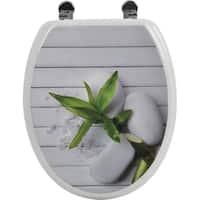 Evideco Toilet Seat Wood Design So Zen with Zinc Hinges